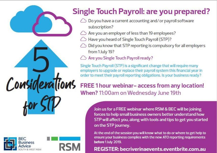 Single Touch Payroll: are you prepared? FREE WEBINAR